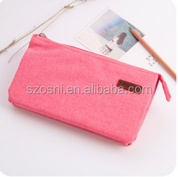 Osni fashion wholesale custom school stationery plain color 3 pouch and zipper Multi-fonction pencil bag pouch cosmetic bag