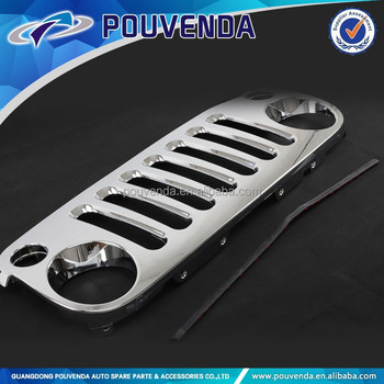 ABS Chrome Front Grille For Jeep Wrangler JK 07-14 4x4 auto accessories