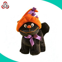 plush black cat cute stuffed black Halloween cat plush toys with pumpkin hat