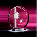 Personalised Circle Clock Crystal with Logo Customized for Awards
