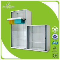 Office used furniture metal roller shutter PE door filing cabinet tambour door cabinet