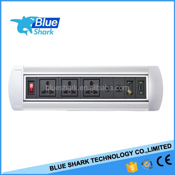Electric Conference Table Switch Socket/Manuel Rotating Desk Outlet/Office Furniture Power Socket