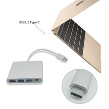 USB Type-C 3.1 Hub, USB-C to 3-Port USB 3.0 Aluminum Hub with 1 Type C Charger Port for the New Macbook, Google Chrome Book
