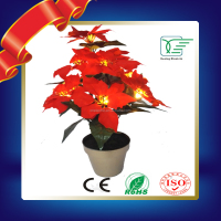 2016 Newest LED Flower Artificial Christmas Flower with plastic pot&Led lights