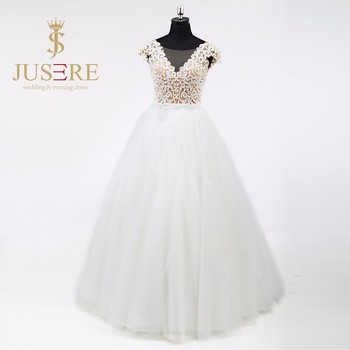 Luxury Cap Sleeves Heavy Beaded Embroidery Wedding Dress 2016 Ball Gown Bridal Gown
