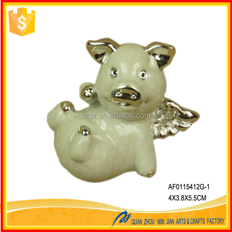 Handmade personalized flying pig resin ornament