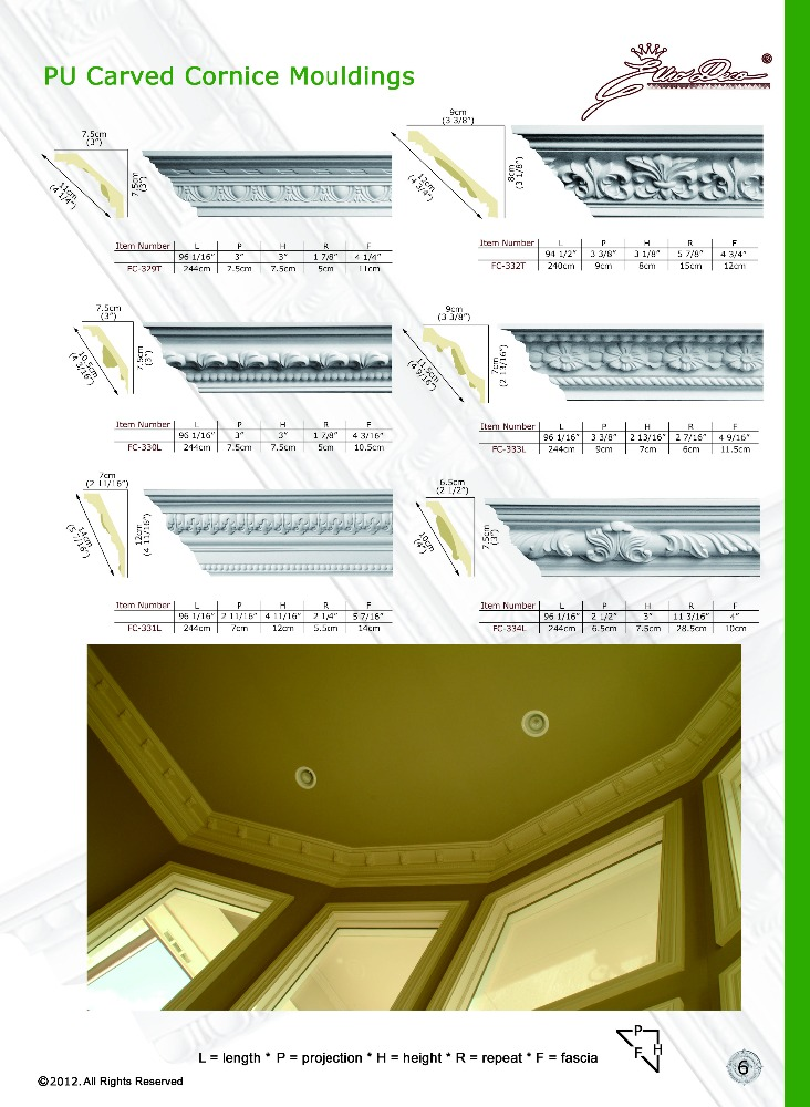 2016 Polyurethane High Quality beautiful PU material concrete window moulding designs