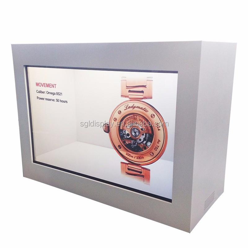 22 inch transparent TFT lcd display panel with HD interactive media player for display box