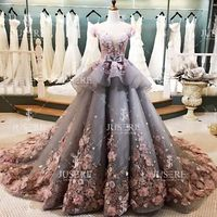 Newest Tiered Ruffle Puffy Evening Ball Gown Pink 3D Flower Beaded Scoop Sheer Back Buttons Up Grey Organza Wedding Dresses 2016
