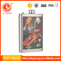 usa hot sale 8 oz sex girl logo sport bottle whiskey hip flask