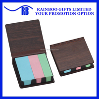 Logo printed 3 colors sticky note holder with wooden box