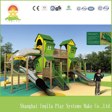 New children outdoor playground wood and stainless steel slide