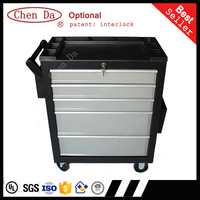 2016 new design professional plastic material top 5 drawers rolling steel tool box
