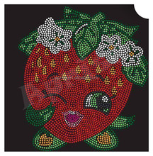 strawberry rhinestone transfer iron on cartoon rhinestone motif design