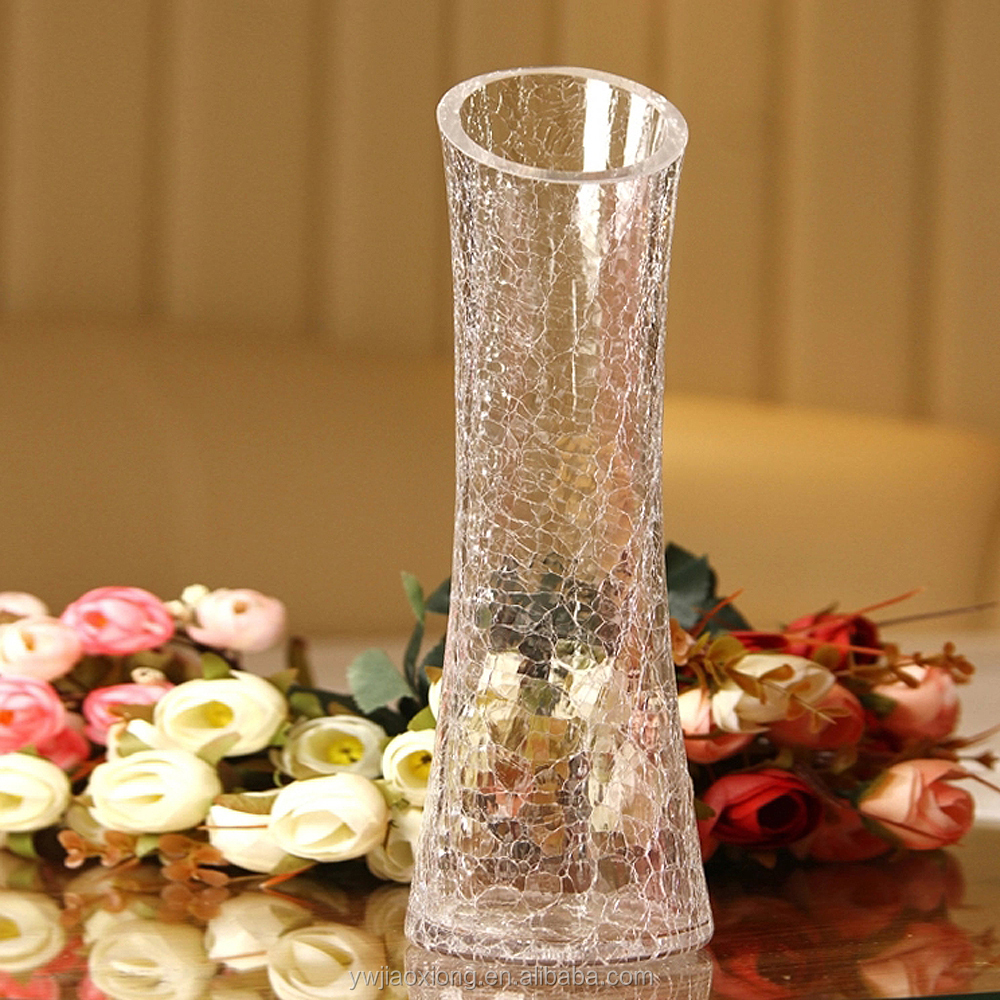 Wholesale Thin Slanted Clear Crackle Mosaic Glass Vase