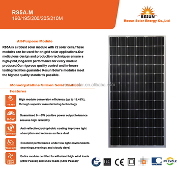 RS5A-M 190W-210W Monocrystalline Solar Power Panel Used in on-grid or off-grid