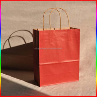 machine made kraft paper bags with red paper handle for clothes