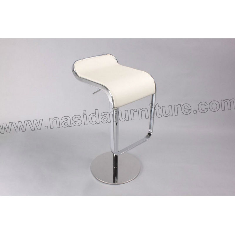 CH084 white Leather LEM Piston Lifting bar Stool