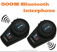 Handsfree 500M Motorcycle Bluetooth Helmet Intercom for 2 riders BT Wireless Waterproof Interphone Headsets MP3