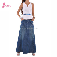 Women Wholesale Washed Maxi Denim Skirt