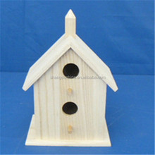 Eco-friend unfinished handmade cheap christmas wooden bird houses