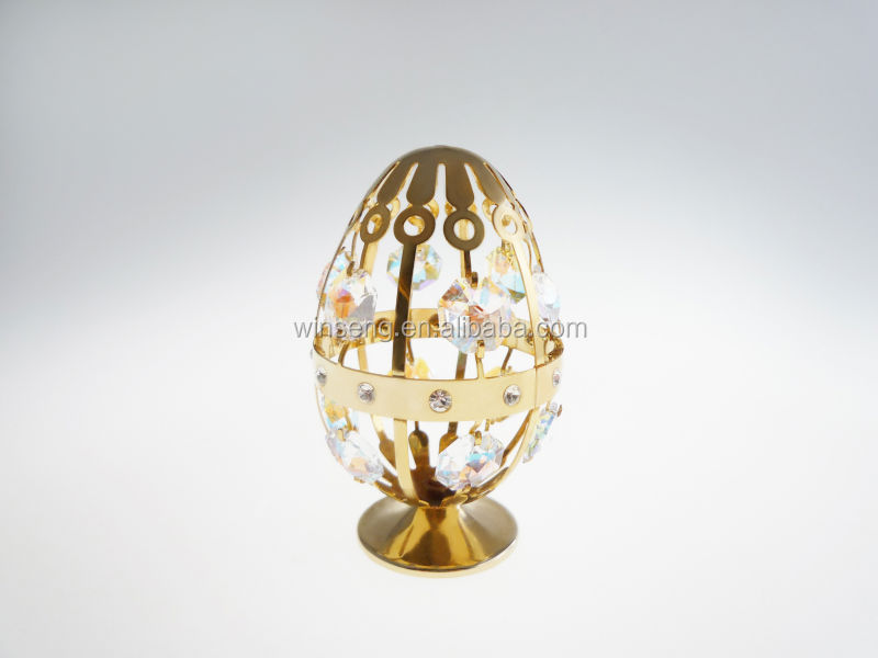 New Design 24K Gold Plated Colorful Egg Music Box With Crystal from Swarovski