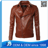 Custom Asymmetry Zipper Motorcycle Orange Leather Jacket for Men