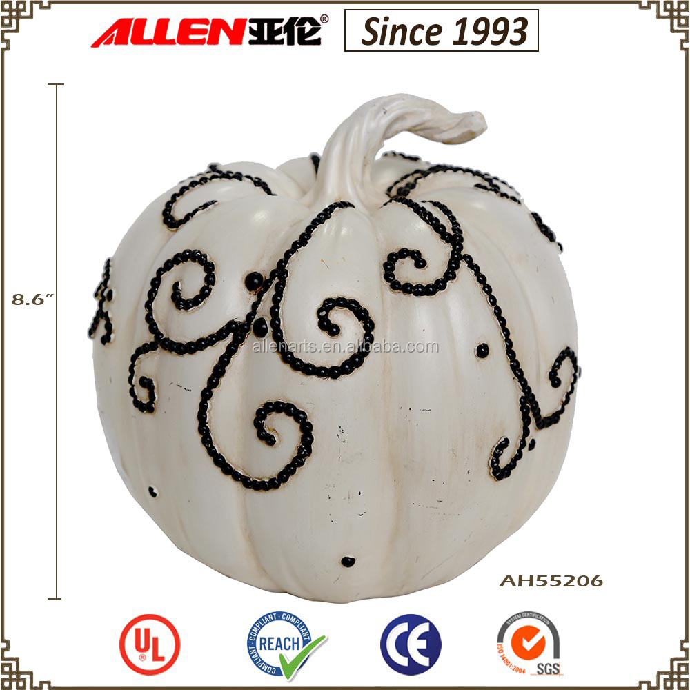 "8.7"" halloween decorative artificial fake white resin pumpkins"