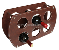 2016 Leather Grape Wine Rack for 6 Bottle Wine
