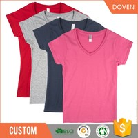Wholesale women v veck plain cotton t shirts