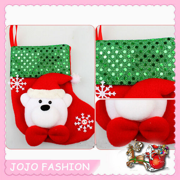 santa claus head hanging kids christmas sock