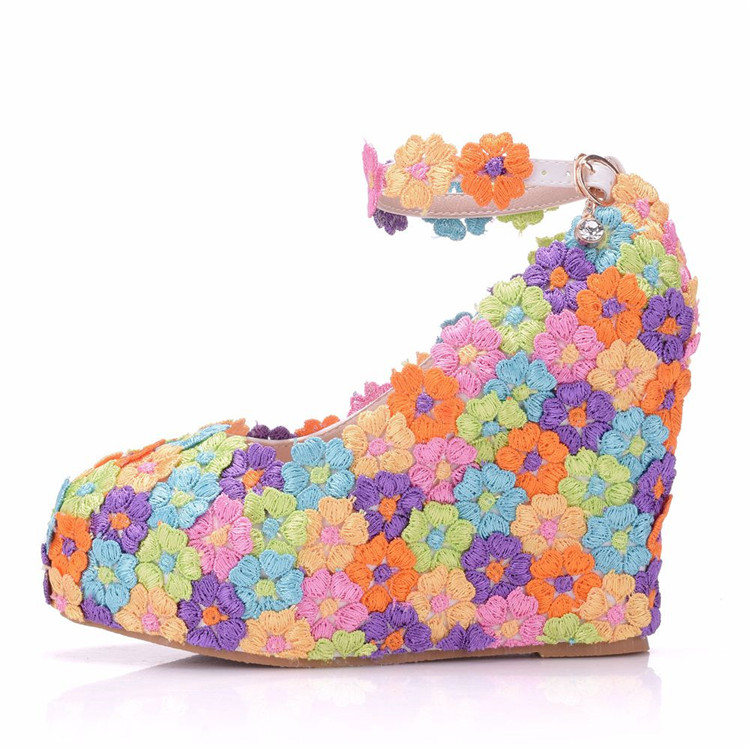 2018 Lace Flower Women's High Heels Closed Toe Wedges Shoes Matching Handbag Sets