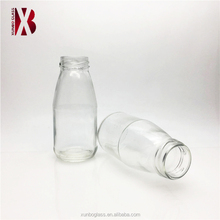 wholesale 200ml mini small glass milk drinking bottle with 38mm metal lid