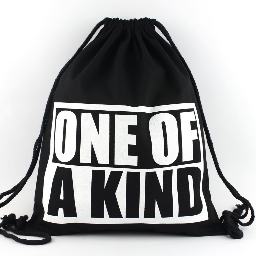 Black unisex cotton drawstring bag backpack school bag with logo print for children and young people
