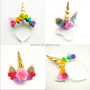 Hot Selling Kids Birthday Party Flower Headdress Glitter Shiny Unicorn Horn Ears Headband Chiffon Rainbow Unicorn Headband
