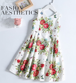 Chic flora children girls round neck sleeveless A-line dress China factory
