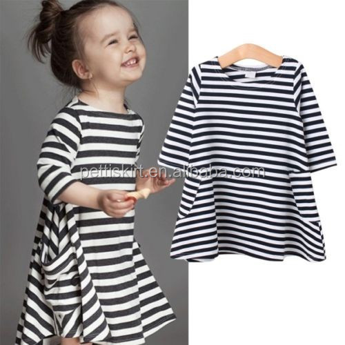 Children stripes clothing black and white stripes dress long sleeves frock wholesale