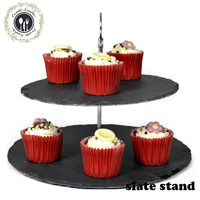 Natural Edge Round 2 Tier Slate Cake Stand