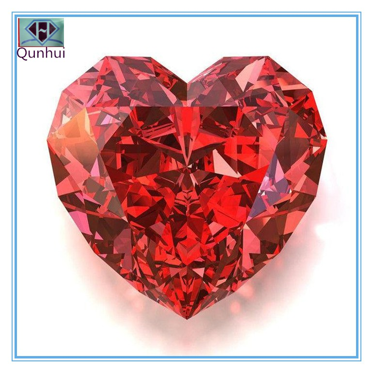 Heart shaped Orange red Cubic zircon