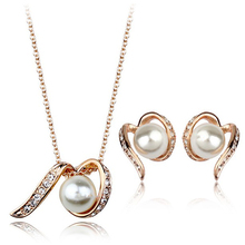 Wholesale fashion 18k gold plated authentic austrian crystal and pearl pendant jewelry set