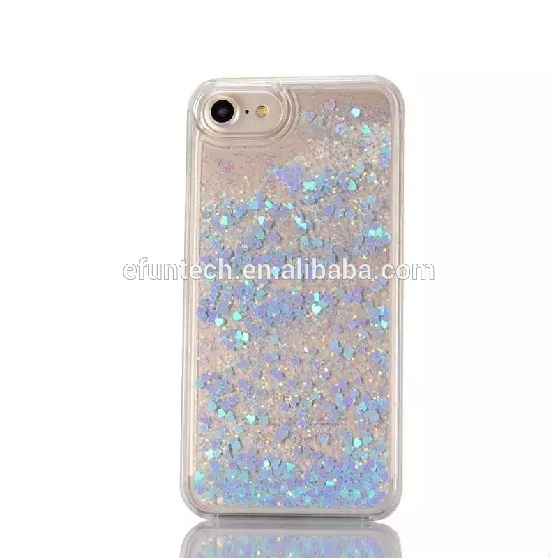 Shockproof clear crystal glitter heart paillette sequin mobile phone case for iphone 7 and 7 plus