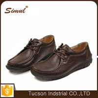 brown genuine cow leather comfortable rubber sole men office shoes