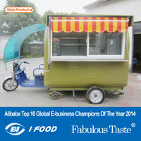Electric tricycle food cart vending mobile food cart with wheels CE&ISO9001Approval custom made food cart
