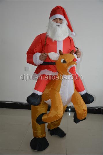 Wholesale inflatable reindeer riding santa costume suit