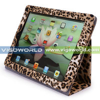 Brown / Leopard Animal Print Premium PU Leather Protective Skin Smart Stand Case Cover Wallet Folio for Apple iPad 3