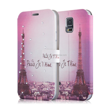 Painted Eiffel Tower Leather Flip Magnetic Wallet Cover Case for Samsung Galaxy S5