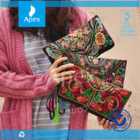 wholesale embroidered handbags ancient wallet mobile phone bag with zipper