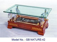 Indian Style Antique Appearance Glass Coffee Table With Drawer For Home Living Room In Unique Special Design