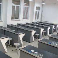 School furniture student mechanics physics lab with desk and chair set