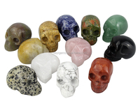 Natural carved stone skulls mixture package Jasper&crystal skull of stone crafts